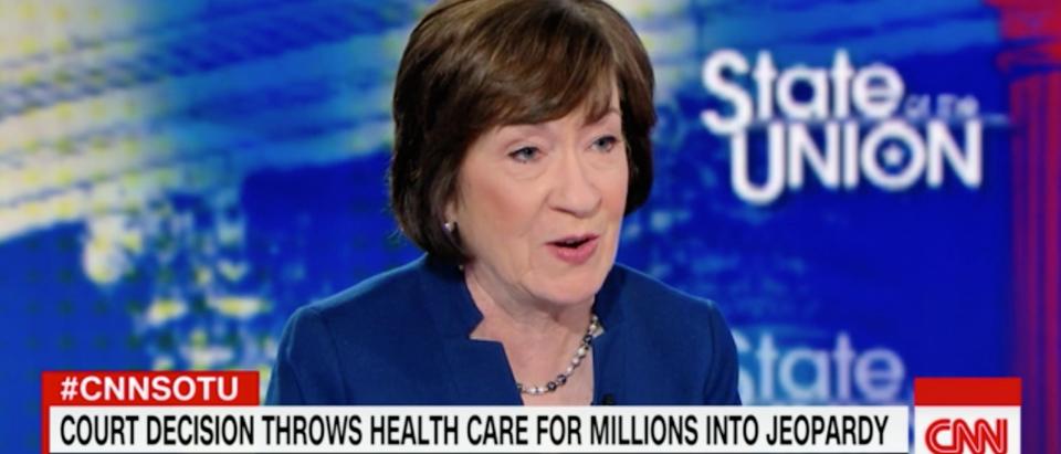 GOP Sen. Susan Collins of Maine speaks on CNN's 'State of the Union' on Dec. 16, 2018. (Screenshot)