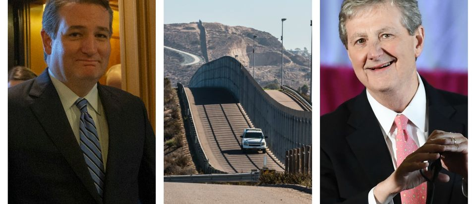LEFT Sen. Ted Cruz at a Senate Judiciary Committee hearing on September 27, 2018 on Capitol Hill (Matt McClain-Pool/Getty Images) CENTER: Border Patrol vehicle patrolling along the fence of the international border between San Diego, California and Tijuana, Mexico (Shutterstock/Sherry V Smith) RIGHT: John Kennedy speaks at a get-out-the-vote rally on December 9, 2016 (Don Emmert/AFP/Getty Images)