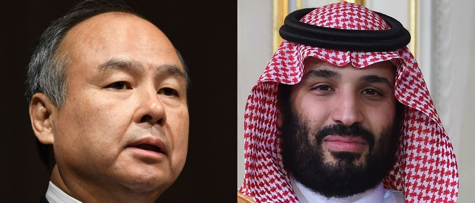 "SoftBank CEO Mayayoshi Son (L) has a ""close"" relationship wihth Saudi Crown Prine Mohammed Bin Salman. TOSHIFUMI KITAMURA/AFP/Getty Images"
