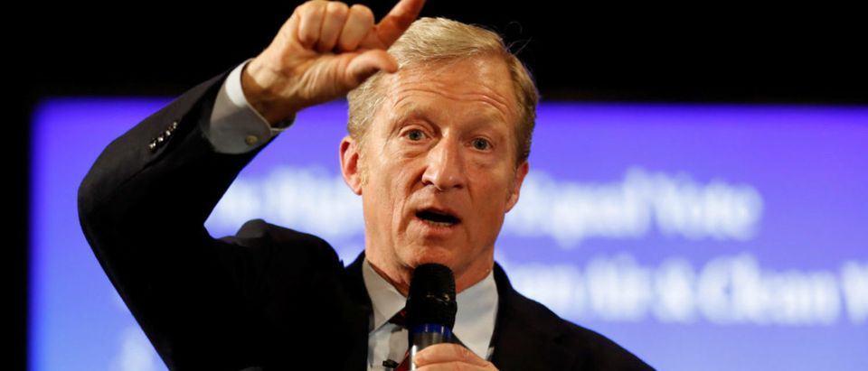 "Tom Steyer who founded the ""Need to Impeach"" campaign advocating for Trump's removal from office appears at a town hall in Charleston, South Carolina, U.S., Dec. 4, 2018. REUTERS/Randall Hill"