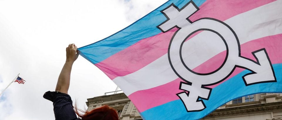 A person holds up a flag during rally to protest the Trump administration's reported transgender proposal to narrow the definition of gender to male or female at birth, at City Hall in New York City, U.S., Oct. 24, 2018. REUTERS/Brendan McDermid