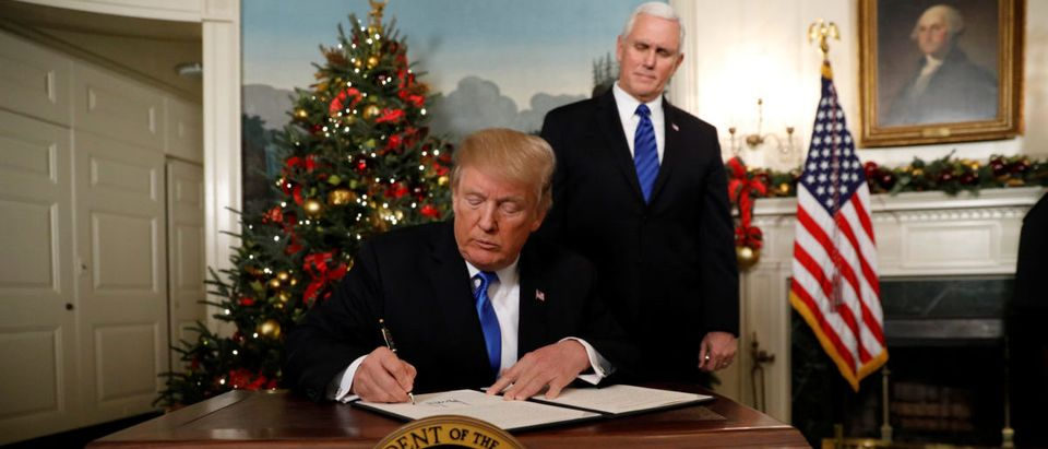 U.S. President Trump signs order on Jerusalem in the Diplomatic Room of the White House in Washington