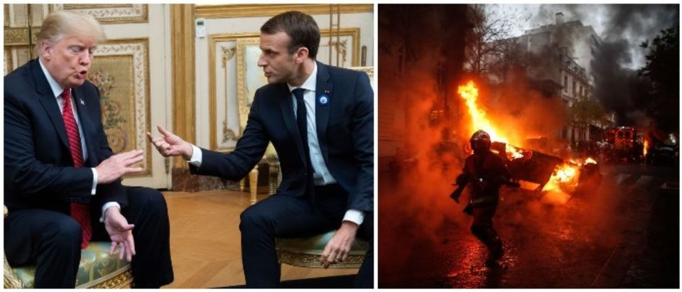 Trump, Macron and the French protesters (LEFT: SAUL LOEB/AFP/Getty Images RIGHT: ABDULMONAM EASSA/AFP/Getty Images)