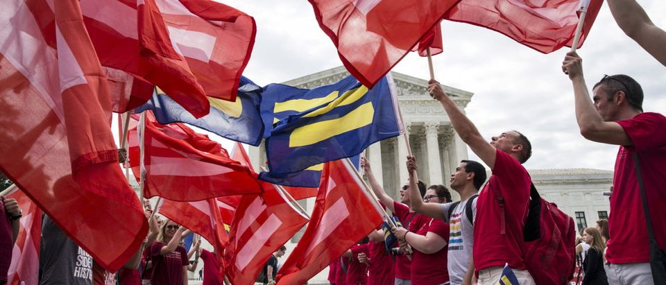 Supporters of LGBT rights rally in front of the Supreme Court in Washington June 25, 2015. REUTERS/Joshua Roberts