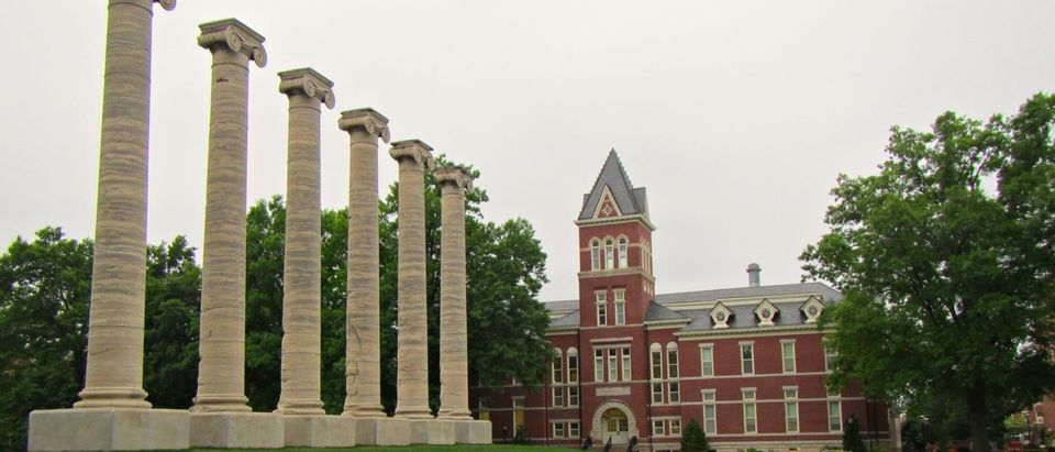 The University of Missouri's row of six Ionic columns, a campus landmark, as seen in 2014. (CameliaTWU/Flickr creative commons)