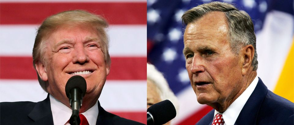 OPINION: 'Now, Now. Let's Not Have Any Of That' — Media Uses H.W. Bush's Death To Take Shots At Trump/ Getty Images Collage
