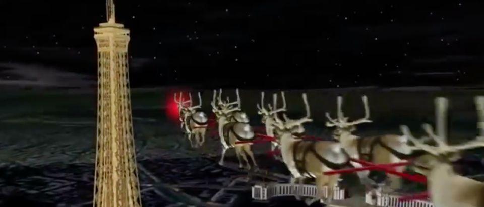 NORAD tracks Santa Claus in 2017. Screen Shot/YouTube/TBZ Trackers
