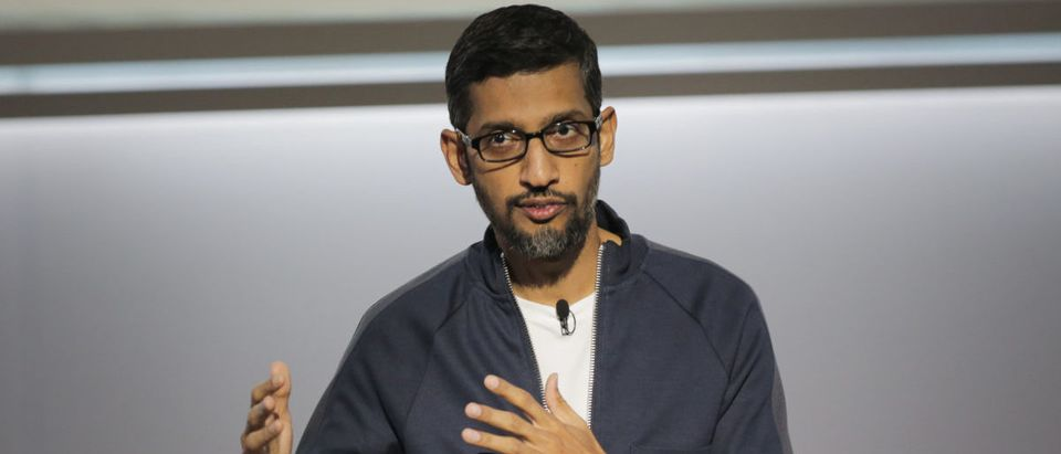 Sundar Pichai, chief executive officer of Google Inc., speaks about Google's improvements in Artificial Intelligence and machine learning at a product launch event, October 4, 2017, at the SFJAZZ Center in San Francisco, California.