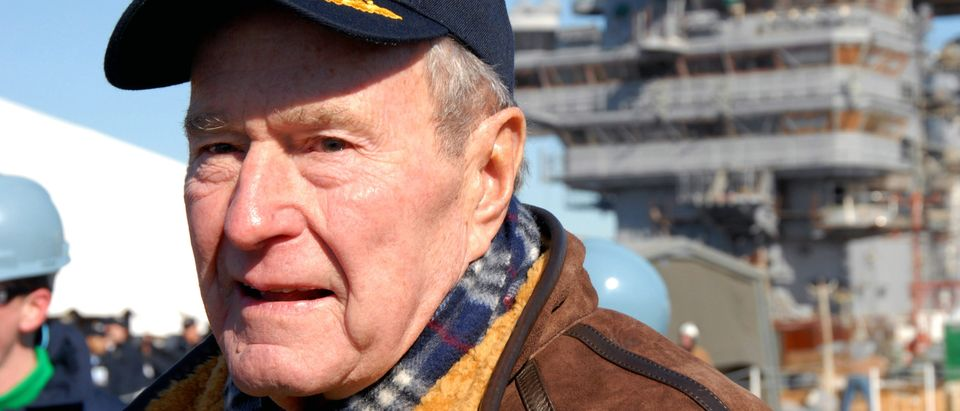 Former President Bush Attends Catapult Testing Ceremony