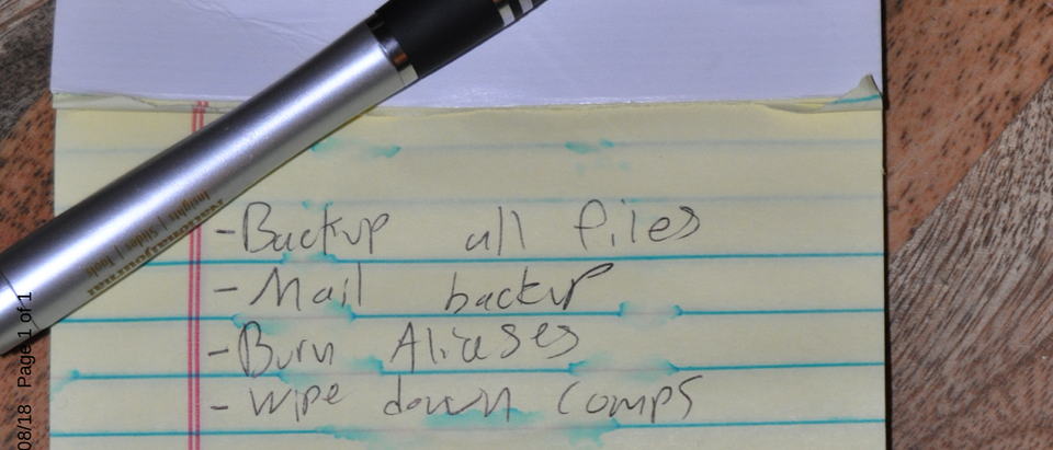 Pictured is a note found in Jackson Cosko's apartment. (Evidence filed by prosecutors in D.C. federal court)
