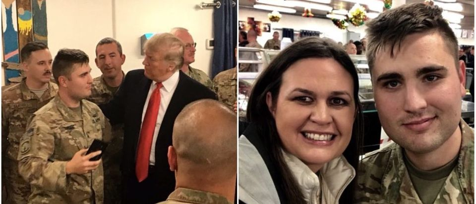 President Donald Trump And White House Press Secretary Sarah Sanders visit with troops in Iraq (@PressSec Twitter)