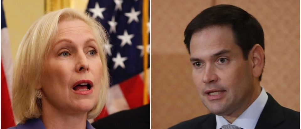 Left: Sen. Kirsten Gillibrand (Photo by Aaron P. Bernstein/Getty Images), Right: Sen. Marco Rubio (Photo by Mark Wilson/Getty Images)