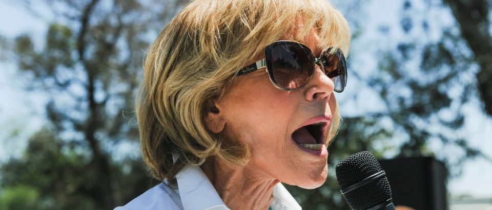 Actor and activist Jane Fonda speaks to the crowd during the People's Climate March protest for the environment in the Wilmington neighborhood in Los Angeles