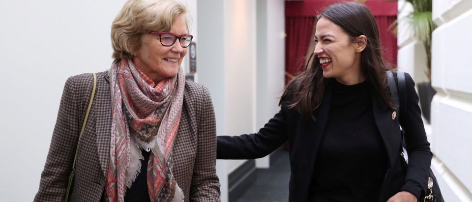 U.S. Representative Pingree and Representative Ocasio-Cortez arrive for a House Democratic party caucus meeting at the U.S. Capitol in Washington