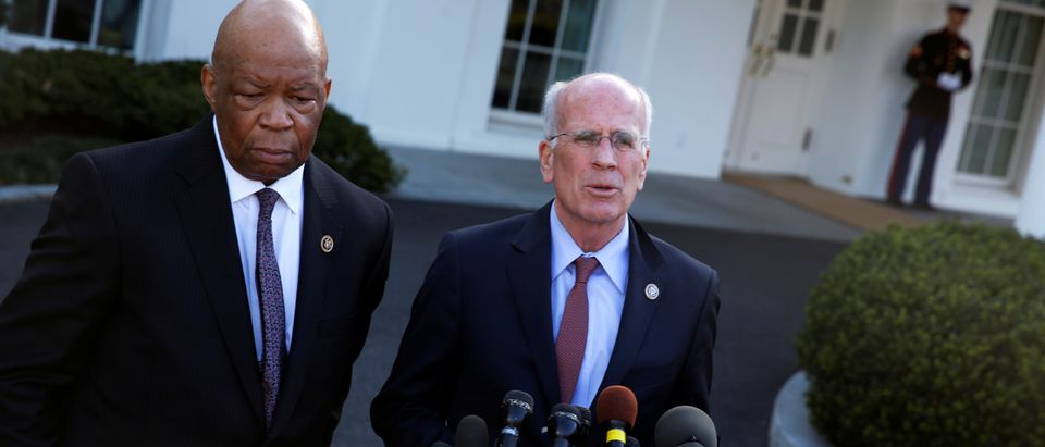 U.S. Representative Elijah Cummings (D-MD) and Representative Peter Welch (D-VT) speak with reporters after meeting with President Donald Trump about prescription drug prices at the White House in Washington