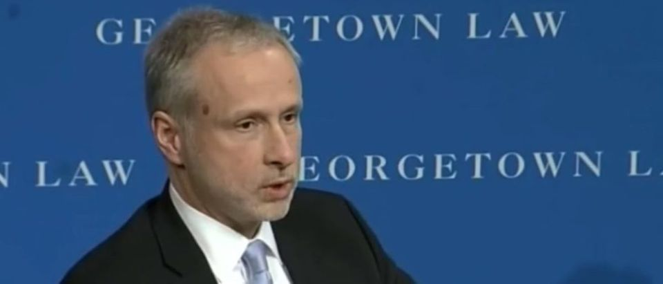 Then-FBI general counsel James Baker speaks at Georgetown Law, April 8, 2016. (YouTube screen grab)