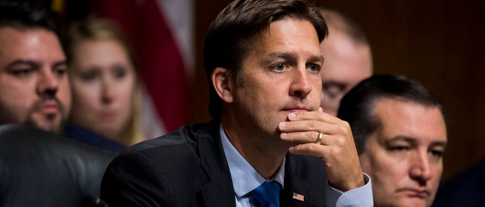 Sen. Ben Sasse, R-Neb., listens as Dr. Christine Blasey Ford testifies before the Senate Judiciary Committee on Capitol Hill Sept. 27, 2018. (Tom Williams-Pool/Getty Images)