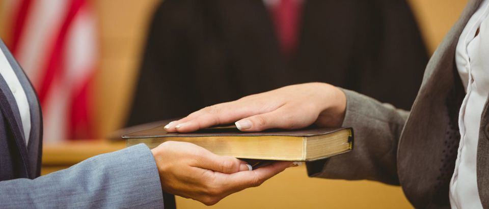 Swearing an oath on the Bible (Shutterstock/ ESB Professional)