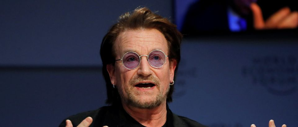 Bono, U2 singer and co-founder of the One campaign, speaks during the World Economic Forum (WEF) annual meeting in Davos, Switzerland, January 23, 2019. REUTERS/Arnd Wiegmann