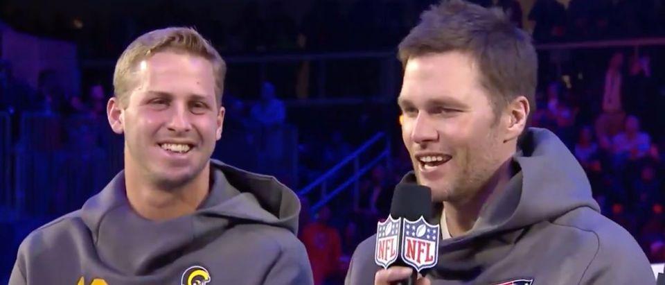 Tom Brady, Jared Goff (Credit: Screenshot/Twitter Video https://twitter.com/nfl/status/1090058209304301568?s=21)