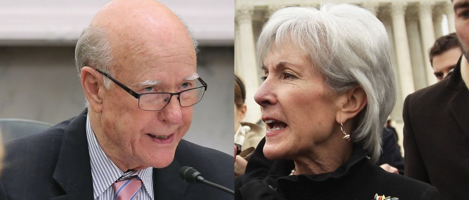 Kathleen Sebelius (R) is being floated as a contender to run for Pat Roberts's Senate seat when he retires in 2020. Chip Somodevilla/Getty Images and Alex Wong/Getty Images