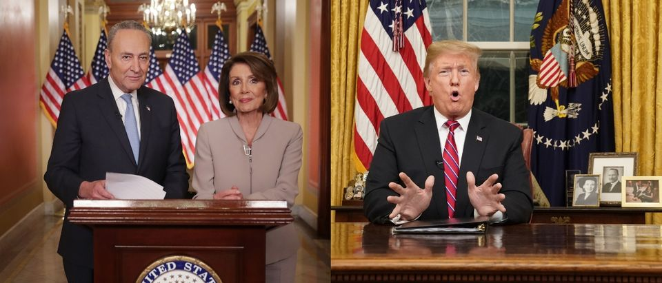 Senate Minority Leader Chuck Schumer and House Speaker Nancy Pelosi offered a rebuttal to President Donald Trump's national address on the border wall Jan. 8, 2019. Chip Somodevilla/Getty Images and Carlos Barria-Pool/Getty Images