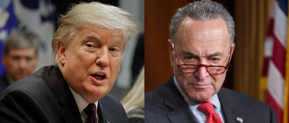 President Donald Trump (L) called out Senate Minority Leader Chuck Schumer (R) over Iran policy on Jan. 31, 2019. Chip Somodevilla/Getty Images and Zach Gibson/Getty Images