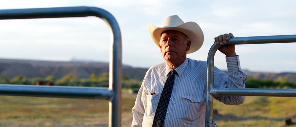 Rancher Cliven Bundy stands near a metal gate on his 160 acre ranch in Bunkerville, Nevada May 3, 2014. USA-RANCHERS/NEVADA-TORTOISES/REUTERS
