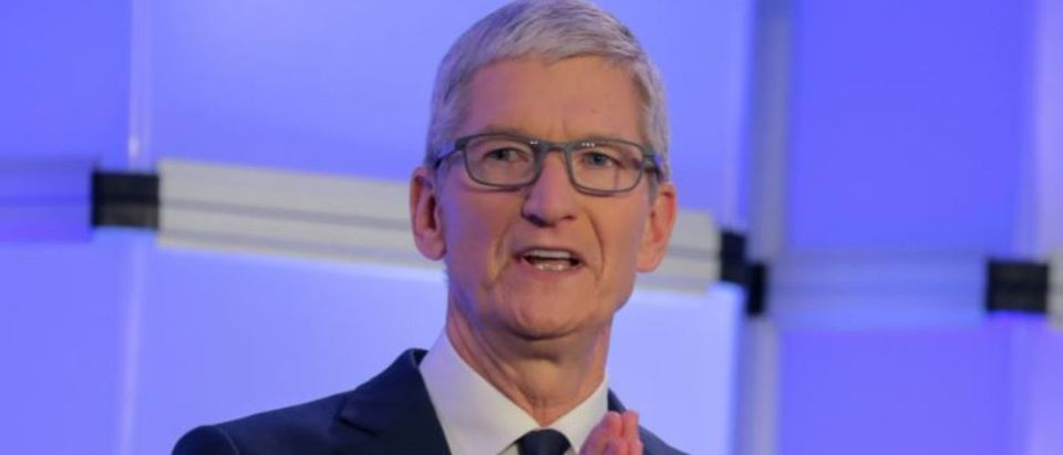 """Apple CEO Tim Cook speaks at the Anti-Defamation League's """"Never is Now"""" summit in New York City, New York, U.S., December 3, 2018. REUTERS/Brendan McDermid"""
