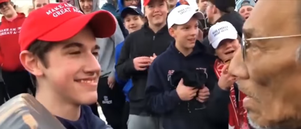 Covington Catholic High School Students With Nathan Phillips (screengrab)