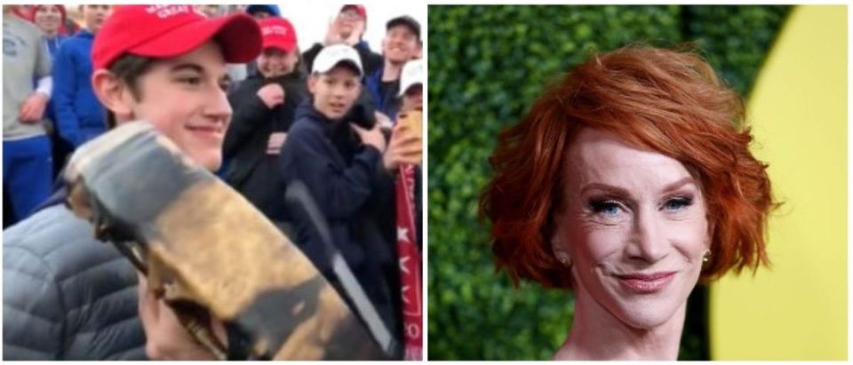 Covington Catholic and Kathy Griffin (LEFT: A student from Covington Catholic High School stands in front of Native American Vietnam veteran Nathan Phillips in Washington, U.S., in this still image from a January 18, 2019 video by Kaya Taitano. Kaya Taitano/Social Media/via REUTERS RIGHT: Phillip Faraone/Getty Images)