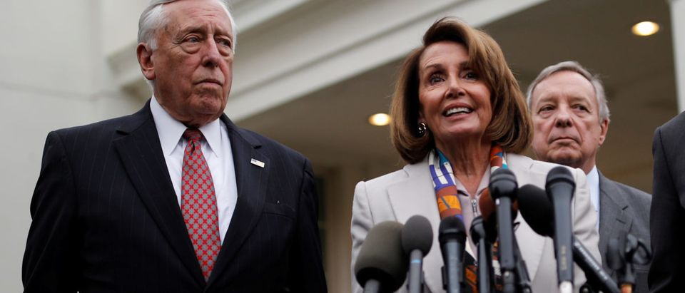 House Democratic leader Nancy Pelosi speaks to reporters with Senate Democratic leader Chuck Schumer, Rep. Steny Hoyer and Sen. Dick Durbin following a border security briefing with U.S. President Donald Trump and congressional leadership at the White House in Washington, U.S., Jan. 2, 2019. REUTERS/Carlos Barria