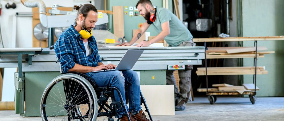 A disabled worker in a wheelchair is pictured in a carpenter's workshop with his colleague. (Shutterstock/Firma V)