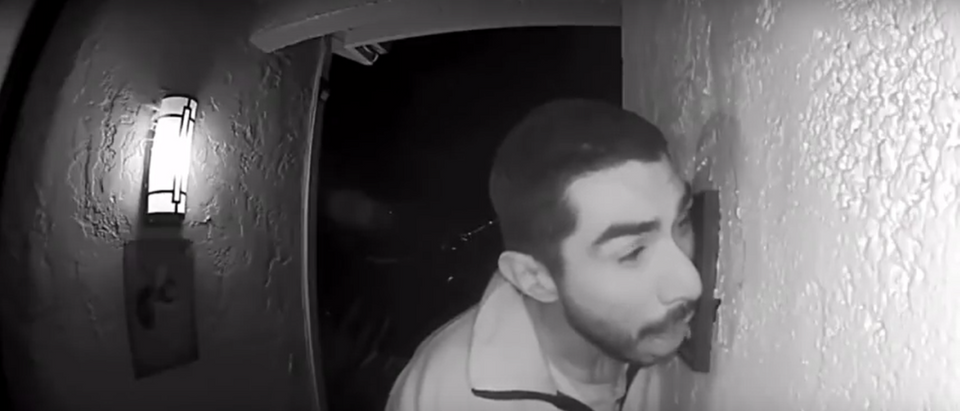 A man was caught licking a door bell for three hours. Screenshot/YouTube/ KION/ EyeWitness News