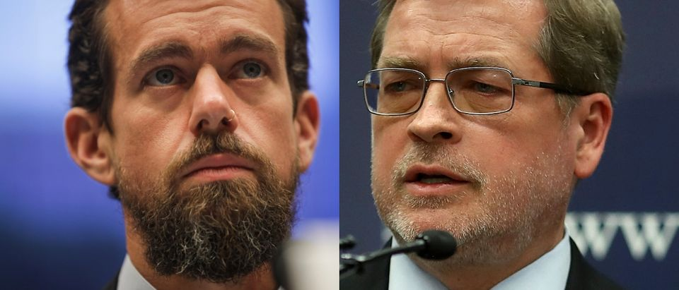 """Grover Norquist said he brought up the plight of two """"prominent conservatives"""" trying to get ads on Twitter to company CEO Jack Dorsey. Drew Angerer/Getty Images and Mark Wilson/Getty Images"""