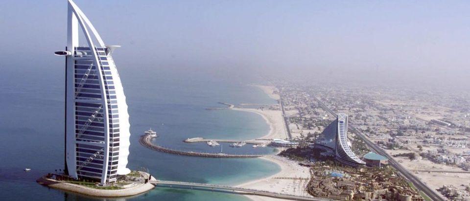Aerial view of the luxury Burj Al Arab (L) and Jum