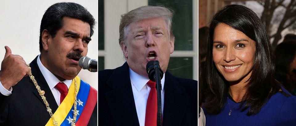 Rep. Tulsi Gabbard (R) opposes President Donald Trump (C) opposing Venezuela dictator Nicolas Maduro (L). FEDERICO PARRA/AFP/Getty Images, Olivier Douliery-Pool/Getty Images and Paul Morigi/Getty Images for ELLE