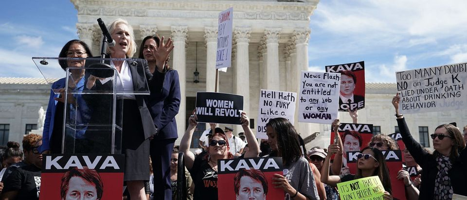 Protesters Demonstrate Against President Trump's Supreme Court Nominee Brett Kavanaugh At The Supreme Court