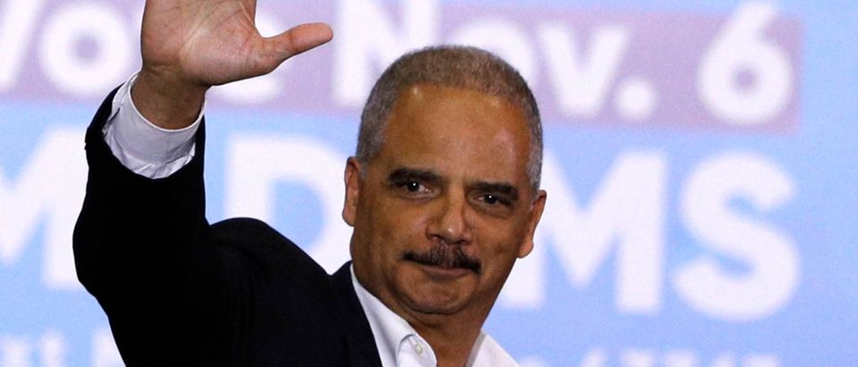 Former Attorney General Eric Holder speaks at a rally to support Michigan democratic candidates at Cass Tech High School on October 26, 2018 in Detroit, Michigan. (Photo by Bill Pugliano/Getty Images)