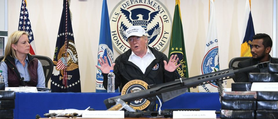 US President Donald Trump (C), with Homeland Security Secretary Kirstjen Nielsen (L), speaks during his visit to US Border Patrol McAllen Station in McAllen, Texas, on January 10, 2019. (JIM WATSON/AFP/Getty Images)