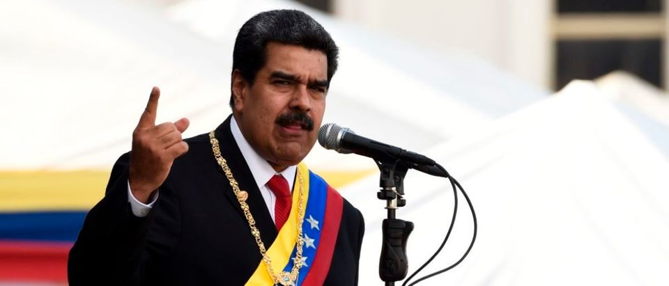 Venezuela's President Nicolas Maduro delivers a speech during the ceremony of recognition by the Bolivarian National Armed Forces (FANB), at the Fuerte Tiuna Military Complex, in Caracas on January 10, 2019. - Maduro begins a new term that critics dismiss as illegitimate, with the economy in free fall and the country more isolated than ever. (Photo by Federico Parra / AFP) (Photo credit should read FEDERICO PARRA/AFP/Getty Images)