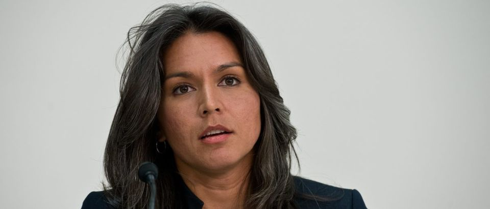 "U.S. Democratic Representative from Hawaii Tulsi Gabbard speaks during a hearing of the Tom Lantos Human Rights Commission (TLHRC) on ""The Plight of Religious Minorities in India"" on Capitol Hill in Washington on April 4, 2014. (Photo: NICHOLAS KAMM/AFP/Getty Images)"