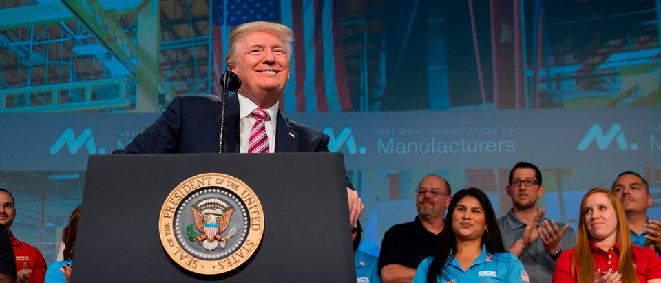 US President Donald Trump speaks to the National Association of Manufacturers in Washington, DC, September 29, 2017. - Getty Images