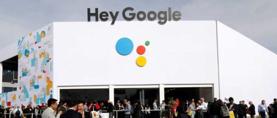People line up outside the Hey Google booth during the 2019 CES in Las Vegas, Nevada, U.S. January 8, 2019. REUTERS/Steve Marcus