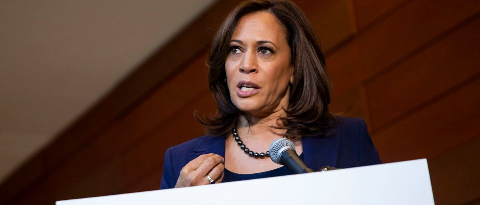Kamala Harris speaks to reporters after announcing her candidacy for President of the United States (Al Drago/Getty Images)