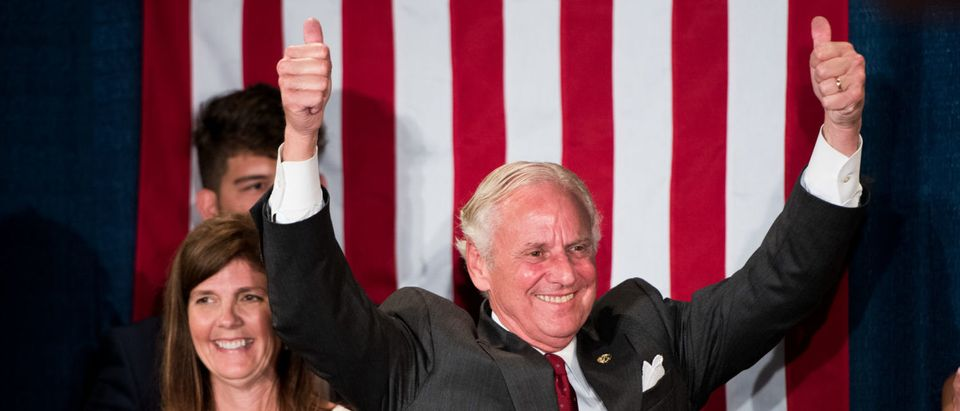 COLUMBIA, SC - JUNE 26: South Carolina Governor Henry McMaster gives the crowd two thumbs up during a gubernatorial primary runoff election watch party at Spirit Communications Park on June 26, 2018 in Columbia, South Carolina. The incumbent McMaster defeated businessman John Warren. (Photo by Sean Rayford/Getty Images)