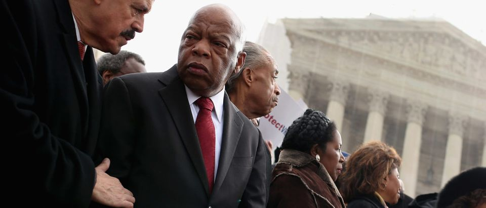 Reps. John Lewis Sheila Jackson Lee in February 2013. Chip Somodevilla/Getty Images.