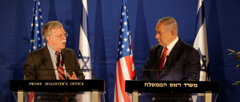 U.S. national security adviser John Bolton meets Israeli Prime Minister Benjamin Netanyahu in Jerusalem Jan. 6, 2019. Oded Balilty/Pool via REUTERS