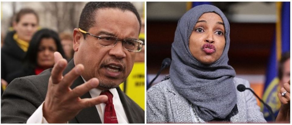 Keith Ellison and Ilhan Omar (LEFT: Alex Wong/Getty Images RIGHT: MANDEL NGAN/AFP/Getty Images)