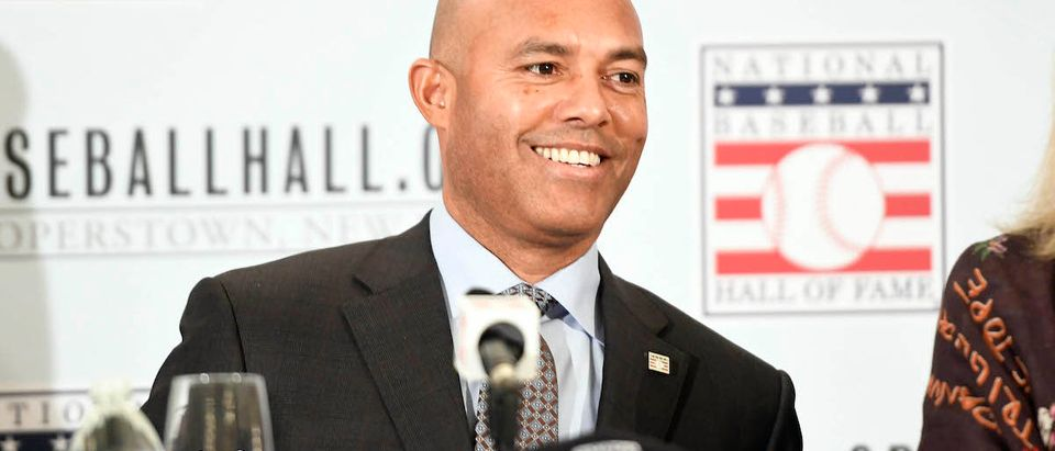 New York Yankees former closer Mariano Rivera at a press conference after being unanimously inducted into the Hall of Fame. Mandatory Credit: Danielle Parhizkaran/NorthJersey.com via USA TODAY NETWORK